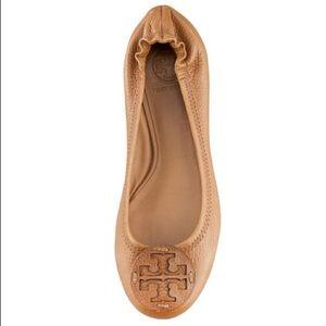 Tory Burch Reva Logo Ballerina Flat Royal Tan 10.5